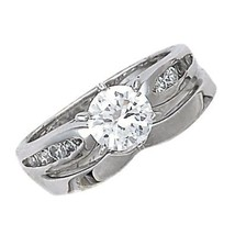 1.24 ct Russian Ice CZ V Notched Wedding Ring Set s 8 - $58.00
