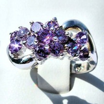 1.4c Lavender Ice CZ Waterfall Cluster Bypass Ring s 9 - $44.00