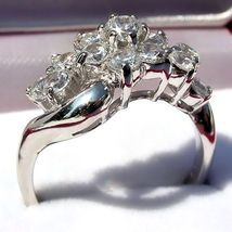 1.4ct Russian Ice CZ Waterfall Cluster Bypass Ring s 10 - $44.00