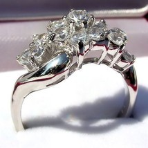 1.4ct Russian Ice CZ Waterfall Cluster Bypass Ring s 8 - $44.00