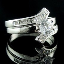 1.8ct Flared Bypass Ice on Fire CZ Wedding Ring Set s 7 - $49.00