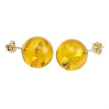 10mm Baltic Amber Ball Stud Post Earrings 925 Silver - $41.00