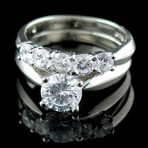 2.1ct Russian Ice CZ 5 Stone 2 pc Wedding Ring Set s 8 - $59.99