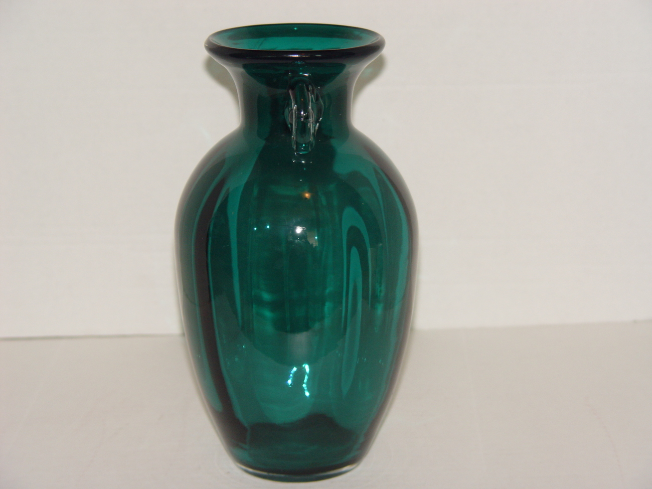 Beautiful Emerald Green Teal Glass Urn Vase With Clear Handles By Pier 1 Other Countries