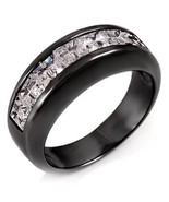 2.6ct Black Sterling Silver Channel Band CZ Ring sz 9 - $43.00
