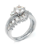 2.6ct Russian Ice CZ Wrap Around Wedding Ring Set sz 5 - $59.95