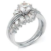 2.6ct Russian Ice CZ Wrap Around Wedding Ring Set sz 7 - $57.00
