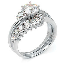 2.6ct Russian Ice CZ Wrap Around Wedding Ring Set sz 8 - $57.00