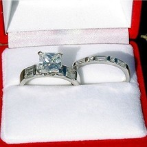 2.9c Princess Cut Russian Ice CZ Wedding Ring Set sz 6 - $51.00