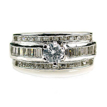 2.9c Stacked Russian CZ 925 Silver Wedding Ring Set s 8 - $56.00