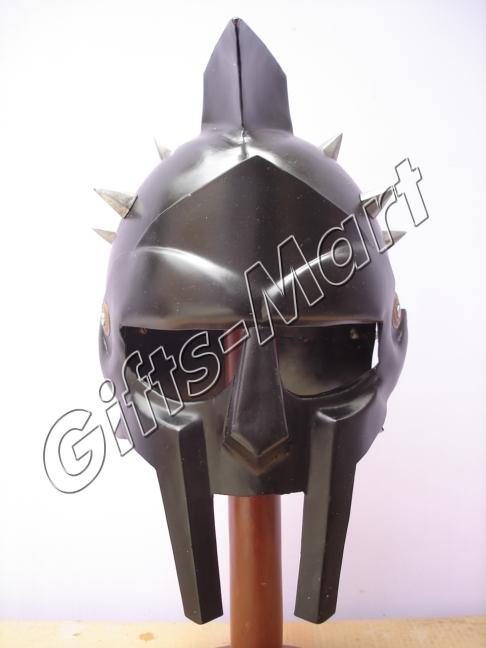 GLADIATOR HELMET Greek Spikes Maximus Black Costume SPARTAN +Leather Liner Armor