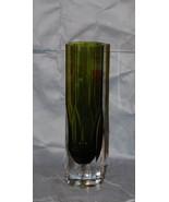 Green Cased Glass Vase Lindshammar Sweden Designed by Gunnar Ander - $225.00