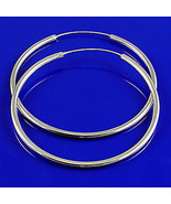 "70mm, 2.8"" Endless Continuous Hoop Earrings 925 Sterling Silver Medium L... - $46.00"