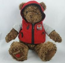 """Gund 2000 Millennium Wish Bear 25"""" Plush Brown Teddy Red Hoodie Gray T-S... - $26.61"""