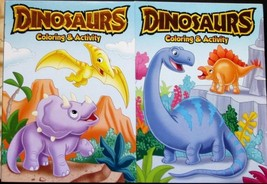 2 Dinosaurs Coloring Book & Activity For Kids Full Size Books New Vision... - $7.99