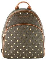 Michael Kors Abbey Monogrammed Studded Medium Backpack Brown & Acorn - $465.19