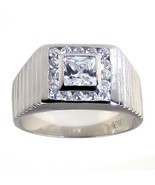 Mens 1.8ct Ice on Fire Russian CZ Stepped Band Ring 10 - $60.00