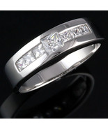 Mens Russian CZ Channel Band Ring Sterling Silver s 9 - $60.00