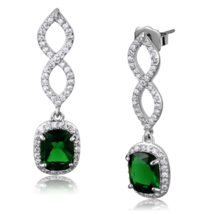 Women's Brass Synthetic Emerald Square Dangle & Drop Earrings - $25.20