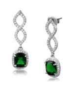 Women's Brass Synthetic Emerald Square Dangle & Drop Earrings - $25.20