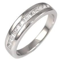 Princess Cut Russian Ice CZ Semi-Eternity Band Ring s 8 - $42.00