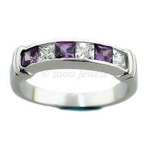 Purple Amethyst & Russian Ice CZ Channel Band Ring s 10 - $44.00