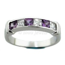 Purple Amethyst & Russian Ice CZ Channel Band Ring s 8 - $44.00