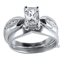 Two Tone Platinum Finish Russian CZ Wedding Ring Set 8 - $60.00