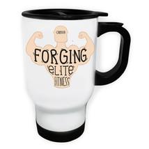 Crossfit Forging Elite Fitness Love Gym  White/Steel Travel 14oz Mug c480t - $18.10