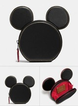 NWT COACH DISNEY MICKEY MOUSE EARS LEATHER COIN PURSE CASE BLACK F59071