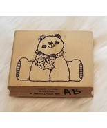 Teddy Bear Rubber Stamp Hooks Lines and Inkers Wood Mounted Vintage 1993 - $4.39