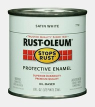 Rust-Oleum SATIN WHITE 0.5pt Stops Rust PROTECTIVE ENAMEL Oil-Based 7791... - $11.99