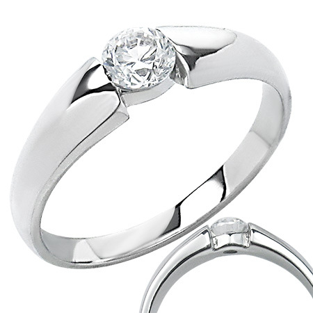 Stainless Steel Ring with Compression Set CZ