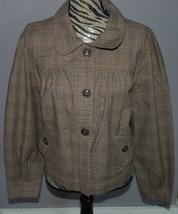 St. Johns Bay Jacket Ladies Large Brown Plaid Stretch Coat Buttons Light... - €22,27 EUR