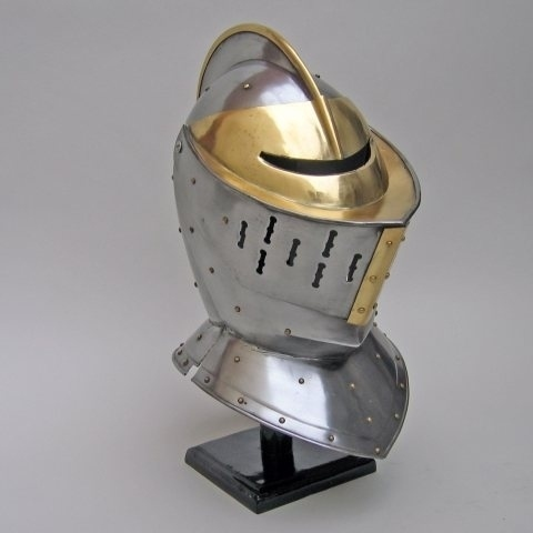 Knights Closed Gold and Steel Armor Helmet medieval crusader costume sca larp