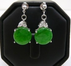nice green jade bead dangle stud earrings 18 KGP free shipping - $8.99