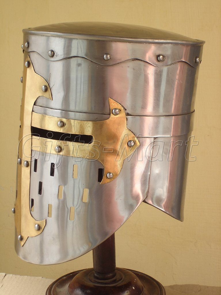 Knights Templar Crusader Armor Helmet Full Size, Medieval Collectible Coustume