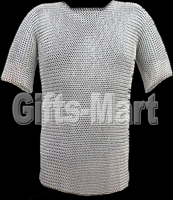 LARGE 9MM 16 SWG ALUMINIUM ROUND RIVETED CHAINMAIL SHIRT WITH COIF ( Bargain)