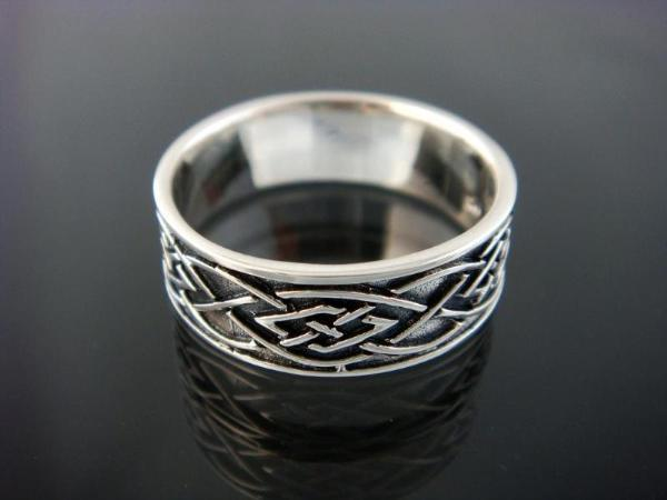 925 Sterling Silver Celtic Knot Irish Oxidized Band Ring
