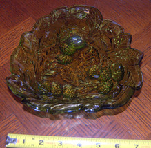 Beautiful Green Leaf and Berry Triangular Dish Possibly Indiana Glass - $9.70