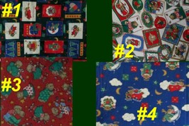 Fabric CHRISTMAS Angel Bear Craft Sew Quilt Seasonal Tree Red Green Blue... - $1.69