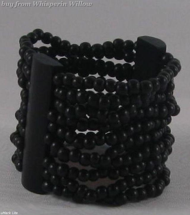 Black wood stretch bracelet 1