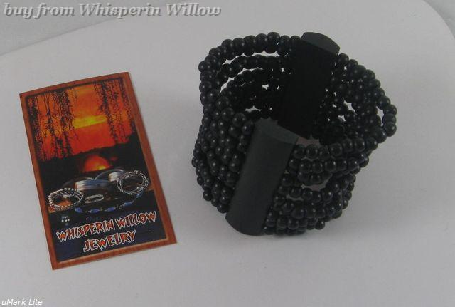 Black Wood  10 Row Stretch Fashion Bracelet