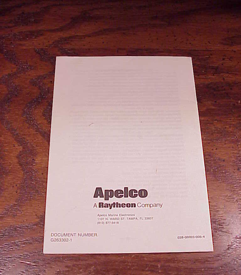 Apelco VXL-357 Marine Transceiver Owner's Manual