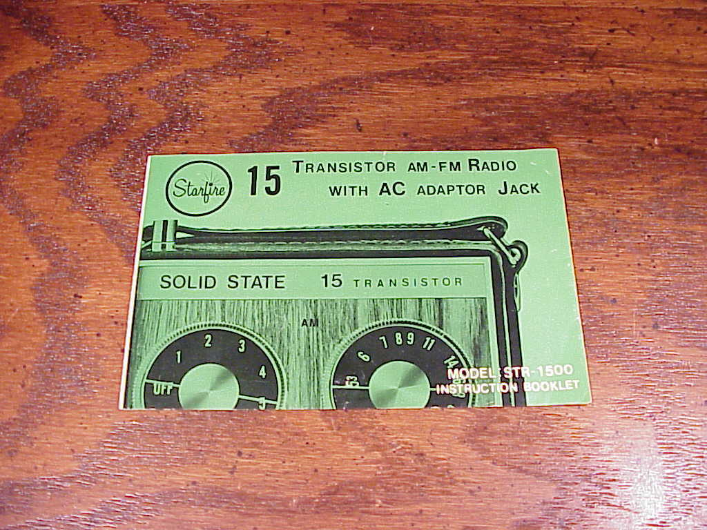 Starfire 15 Transistor AM FM Radio STR-1500 Instructions