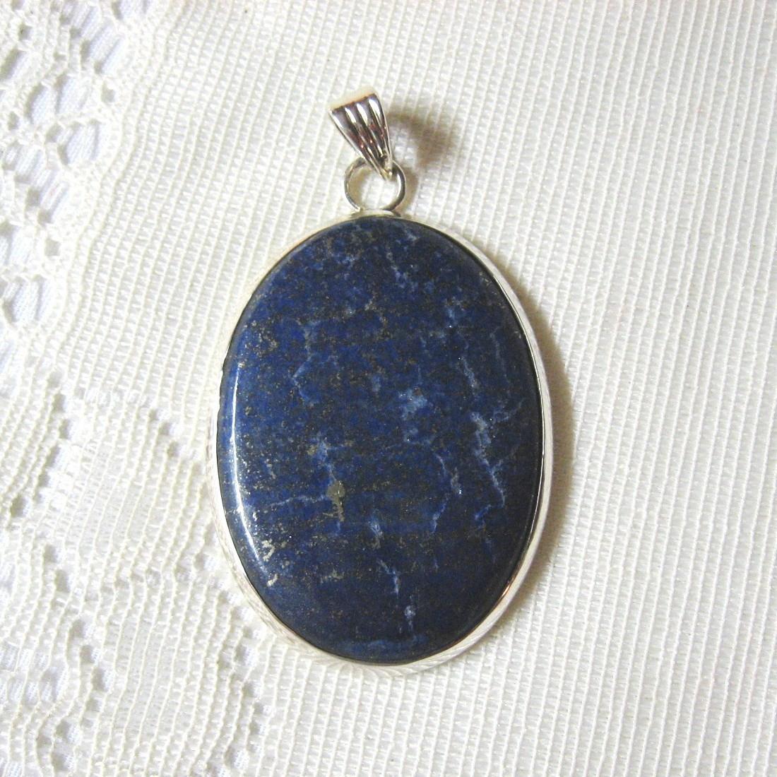 Lapis Lazuli, .925 Sterling Silver Pendant, 60mm