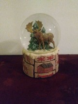 Christmas Winter Moose Tree Snow Globe With Detailed Base Happy Trails U... - $32.71