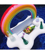White Clouds Inflatable Rainbow Drink Holder Swimming Pool Party Floatin... - $17.59
