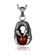 Men Red Stone Dragon Claw Pendant 925 Sterling Silver Vintage Dragon Bal... - $71.99