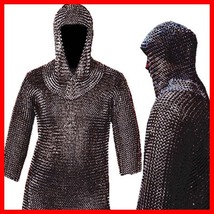 Medieval CHAINMAIL SHIRT LOTR, Blackened CHAIN MAIL Armor +COIF , Hot Xmas Gift - $94.14